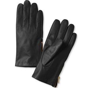 Banana Republic black genuine leather zip gloves S